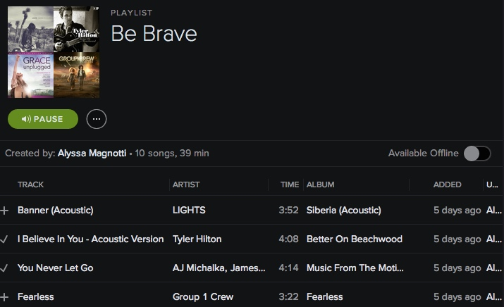 Be Brave - Spotify Playlist